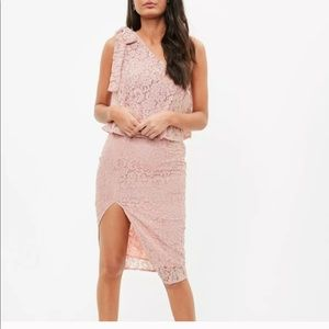 NWT Misguided lace one shoulder bow sleeve dress